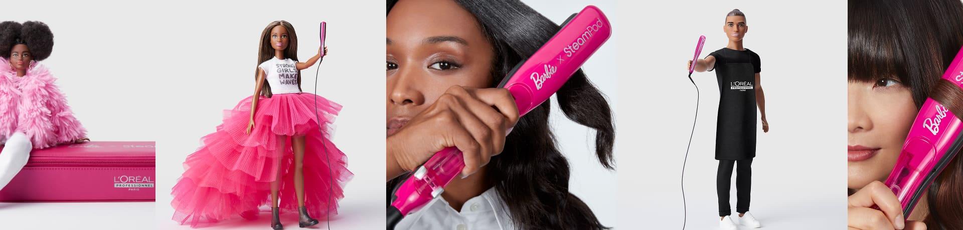 Prancha a vapor Barbie x Steampod de L'Oréal Professionnel